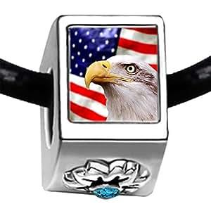 Bandera Americana águila calva Flipmycover azul piedra Zircon de diciembre de pulseras del encanto del grano