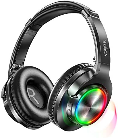 Bluetooth Headphones with RGB Light, Vogek Stereo Wireless Headphones Over Ear with Built-in Mic, Deep Bass and 40H Playtime, Lightweight Foldable Headset with Wired Mode for Travel Home Office Game