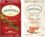 Twinings Holiday Tea Variety Pack, Christmas Tea and Winter Spice, 20 Bags (4 Count)