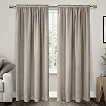 Exclusive Home Curtains Belgian Textured Linen Look Jacquard Sheer Rod Pocket Window Curtain Panel Pair, Grey, 54x84