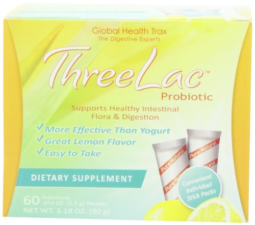 Threelac Probiotic Dietary Supplement, Natural Lemon Flavor, Includes 60 .053-Ounce Packets, Pack of 2 by GHT Global Health Trax Inc.
