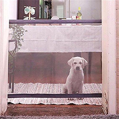 Retractable Pet Gate,Magic Gate Portable Folding Safe Guard Install Anywhere for Pet Safe,Pet Isolation Fence Net ()