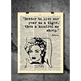 Madonna - Live As A Tiger - Dictionary Art Print - Vintage Dictionary Print 8x10 inch Home Vintage Art Wall Art for Home Wall For Living Room Bedroom Office Ready-to-Frame