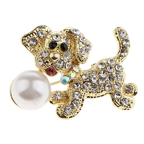 Baoblaze Art Deco Elegant Lady Girl Doggy Poodle Dog Red Bow Faux Pearl Brooch Pin - Type 1 - Pearl Poodle