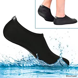 Eco-Fused Water Socks - Extra Comfort - Protects Against Sand, Cold/Hot Water, Uv, Rocks/Pebbles (S) Women - 5-7 Black