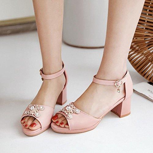 Carolbar Womens Rhinestones Beaded Ankle Strap Buckle Peep Toe Sandals Pink 5VlXMuGOB