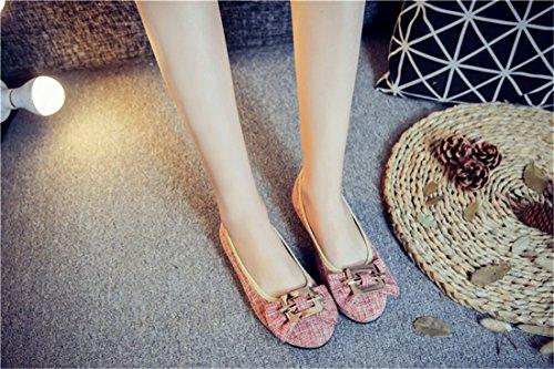 Versatile and Comfortable Elegant de Shoes y Bow Shoes Tacón Zapatos Woman and verano de Zapatos primavera RFF Tie Red otoño 6xASZ7q