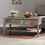 Southern Enterprises Dharma Cocktail Table, White Washed Weathered Fir with Multicolor Finishes
