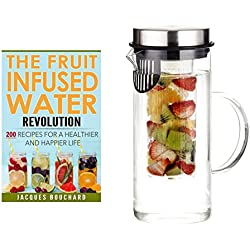 HOT SALE - 2017 Spring Edition with Printed Recipe Book - SKÖN Infusion Pitcher ~ Premium Quality Fruit Infused Water Pitcher (32 oz.) made from Borosilicate Glass with Stainless Steel Lid