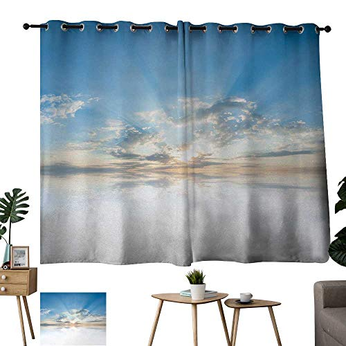 "Fabric Shower Curtain Liner Clouds,Vivid Inspiring Air with Clouds Meteoric Reflection Atmosphere Photo Print,Light Blue White 72""x96"",Home Garden Bedroom Outdoor Indoor Wall Decorations"