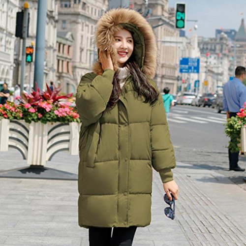 Size Loose Large green Jacket Winter Women Long Jacket Collar Olive down Clothing Paragraph Clothing Cotton Autumn and HF Fur Cotton down nRz7PqBwxv