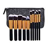 AMarkUp 10 Pcs Makeup Brush Sets Premium Synthetic Kabuki Powder Foundation Blush Brushes with Storage Bag (Black-golden)