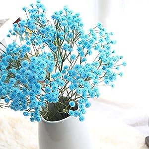 Meka-supplies - Blue Pink Yellow Artificial Silk Flowers Baby's Breath Flower Big Branch DIY Wedding Decoration Party Home Stamen Wreath 21