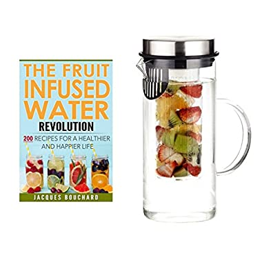HOT SALE - Holiday Offer with Printed Recipe Book - SKÖN Infusion Pitcher ~ Premium Quality Fruit Infused Water Pitcher (32 oz.) made from Borosilicate Glass with Stainless Steel Lid