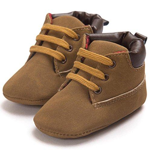 Tefamore calzado niño y niña de deporte de primeros pasos de antideslizante de solo suave de moda invierno de calentar Marrón 2