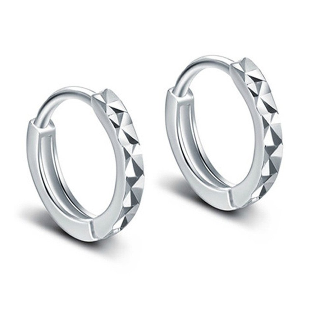 925 Sterling Silver Plated Vintage Diamond Cut Smooth Face Womens Hoop Earrings,10MM XCFS XCFS101