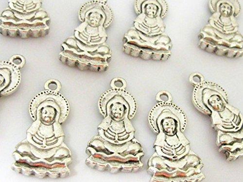 5 pieces- Reversible silver tone Seated on lotus meditation Buddha charm pendants 26 mm x 14 mm - CM108