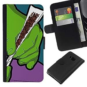 """Be-Star la tarjeta de CršŠdito Slots PU Funda de cuero Monedero caso cubierta de piel Para HTC One M9 ( Verde Humo de Tabaco Cannabis Arte Manos Pintura"""" )"""