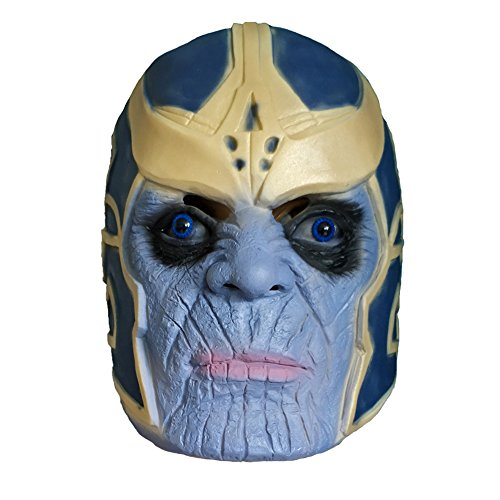 Thanos Masks Deluxe Cosplay Children's Avengers Cosplay Accessories Halloween Masks Latex Thanos Headdress (Blue)