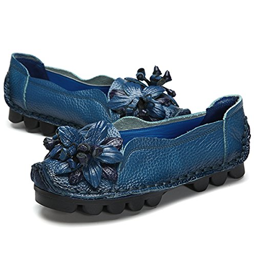 Outdoor Flat Casual Shoes, Tezoo Women's Genuine Leather Loafers - Handmade, Flower Style, Soft, Comfortable Dark Blue 9 US