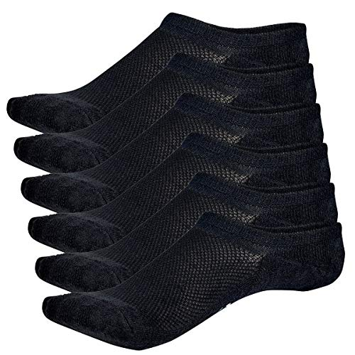 Bamboo Sports Invisible Shoe Liner Socks- Soft & Comfortable Prevent Smelly Feet (Black 6 Pair, Large)