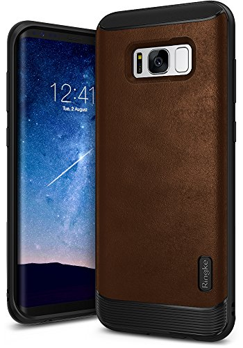 Ringke [Flex S] Compatible with Galaxy S8 Case Classy Slim Look Flexible TPU Premium Hard PC Leather Hybrid Protection Non Slip Tactile Grip Scratch Resistant for Samsung Galaxy S8 (2017) - Brown
