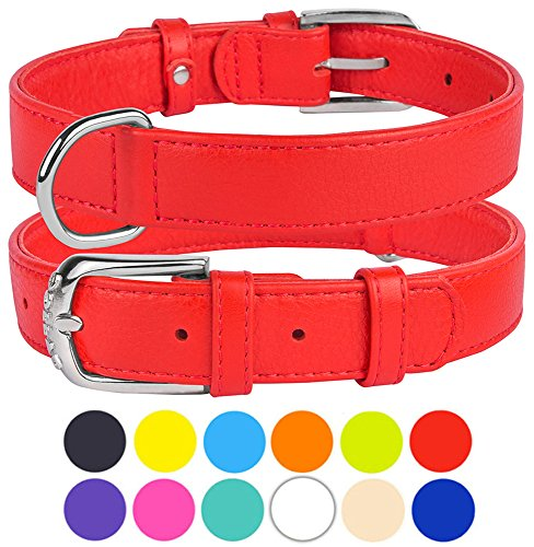 CollarDirect Genuine Leather Dog Collar, Handmade Collar for Dog, Puppy Collar Small Medium Large Soft Padded Pink Black Purple Orange Red Green White Blue Lime (Red, Size XL Neck Fit 19