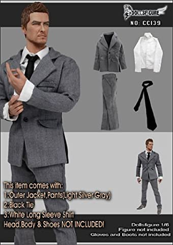 1/6 DOLLSFIGURE Action Figure Man Suit Set - Silver Gray(Ver.2)cc139 (12 In Male Doll)