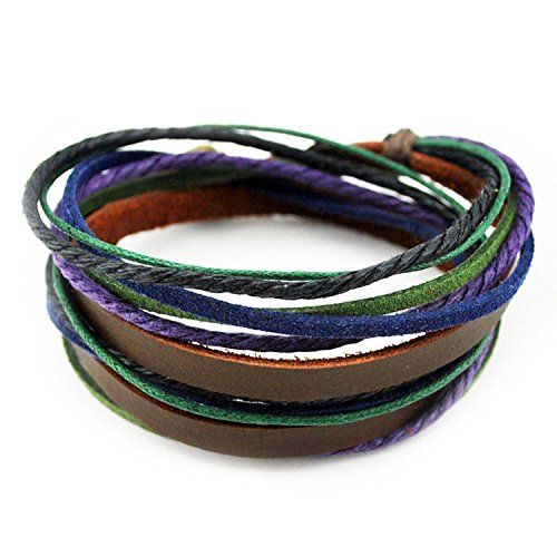 FRD.2Y Furuida Genuine Leather Cuff Wrap Bracelet,Unisex Multilayer Leather Braided Adjustable Bracelets for Women & Men (Multicolor-6)