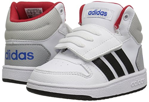 Adidas NEO Baby Vs Hoops Mid 2.0 I, White/Core Black/Scarlet, 10 M US Toddler