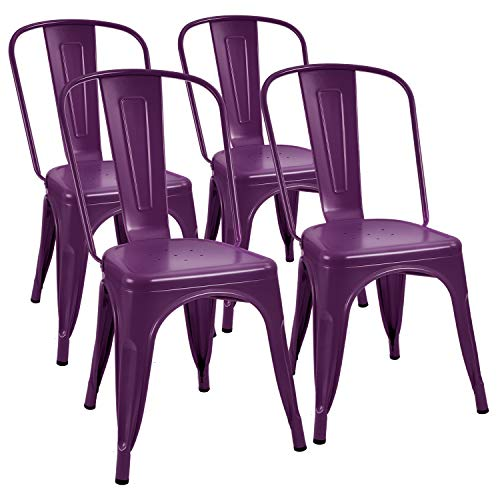 Furmax Metal Dining Chair Indoor-Outdoor Use Stackable Classic Trattoria Chair Chic Dining Bistro Cafe Side Metal Chairs Set of 4 (Purple) (Set Dining Purple)