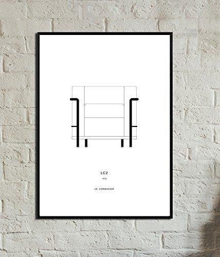 Stampa di un poster con sedia LC2 di Le Corbusier. Design movimento moderno. Stampa in stile nordico. Poster di design. Idea regalo