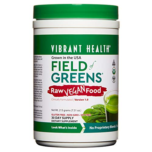 Vibrant Health - Field of Greens, Raw Vegan Food to Support Balanced Nutrition and Immunity on a Plant-Based Diet with Vitamins and Minerals, Organic, Kosher, Vegan, 30 Servings (FFP)