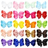 #10: Hecentur 20PCS 3Inch Grosgrain Ribbon Boutique Hair Alligator Clips For Girls Toddlers Teens Babies Set of 20 Color