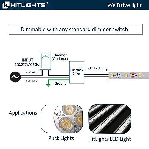 Magnitude Dimmable Driver, 60 Watt Magnetic LED Driver - 110V AC-12V DC Transformer. Made in the USA. Compatible with Lutron and Leviton for LED Strip Lights, Constant Voltage LED Products by HitLights (Image #5)