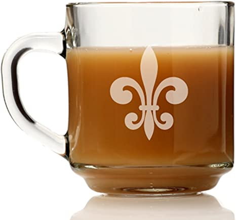 Amazon Com Fleur De Lis Glass Coffee Mug Kitchen Dining