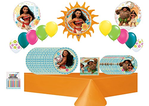 Disney Moana Decoration & Balloon Kit 16 Guest ~ 1Table Cover,13 pc Balloon Bouquet ~ Lunch Plates Dinner - Store Ala Moana