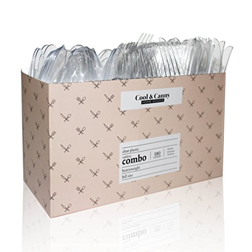 180 Count Combo Cutlery + Caddy Display Box - Premium Heavy Disposable Clear Plastic Cutlery - Attractive Durable Clear Plastic, Peach Minimalist caddy design, Cool & Canny - Full Dinner Size - Peach Cutlery