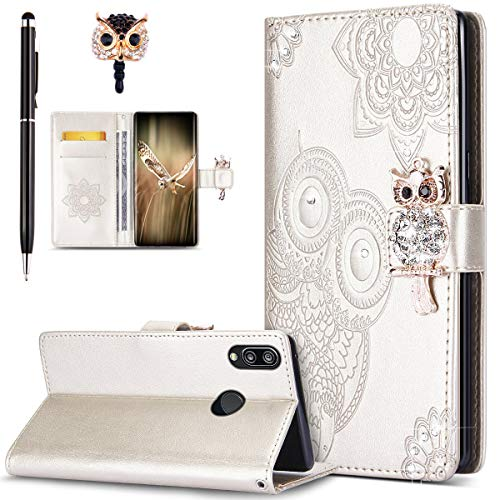 Price comparison product image ikasus Case for Huawei P20 Lite Cover, Bling Diamonds Glitter Embossing Mandala Owl PU Leather Fold Wallet Flip Stand Protective Case Cover + Dust Plug & Stylus for Huawei P20 Lite Wallet Case, Gold