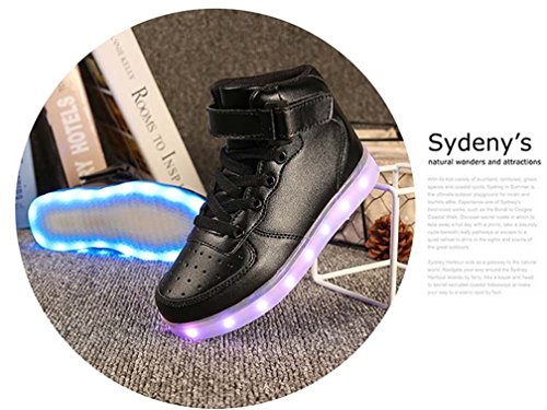 Lj Sport Christmas Giftunisex Led Shoes Bambini Ragazzi Ragazze High Top Light Up Scarpe Usb Ricarica 7 Colori Sneakers Lampeggianti Nere