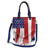 American Flag Stars and Stripes Fringe Cross Body Handbags Western Tote Purse Women Single Shoulder Bag (Blue)