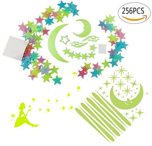 Amersumer 256 Pieces Warm and Romantic Luminous Sticker Glow in the Dark Fluorescent Wall Stickers Decal For Ceiling,Bedrooms,Nursery Rooms,Great for Kids Girls Birthday Gift -