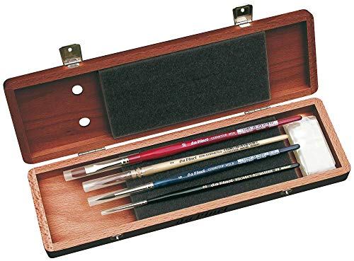 da Vinci Watercolor Series 5280 Deluxe Paint Brush Set, Natural Hair and Synthetic with Mahogany Storage Box and Brush Soap, Multiple Sizes, 4 Brushes (Series 36, 488, 5530, 5880) Da Vinci Watercolor Brushes
