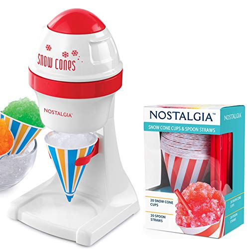 Nostalgia Electric Ice Shaver Set! Includes Snow Cone Maker with 20 Piece Snow Cone Cups and Spoon Straws! Easy To Use and Creates Ice Like Snow! Choose From Red Or Blue! (Red)