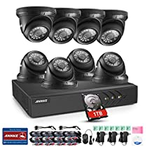 ANNKE 8CH 720P Outdoor Surveillance Camera System, 5 IN 1 1080P Lite DVR Recorder w/ 4x 720P HD Outdoor CCTV Camera, Email Alert with Images, Mobile App: ANNKE View, NO HDD