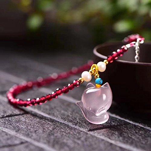 - TKHNE Natural garnet Foot Chain anklet faceted rose quartz necklace pendant fox! fashion! Beautiful garnet color crystal