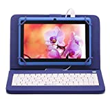 iRULU eXpro X1 7 Inch Quad Core Google Android Tablet PC, 1024x600 Resolution, Wi-Fi, Games, Dual Cameras, 8GB Nand Flash with keyboard(Blue Tablet)