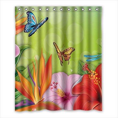Dalliy Flores y Mariposas Multicolor disfraz cortina de la ducha ...