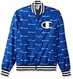 Champion LIFE Men's Satin Baseball Jacket, surf The Web Script Print, L