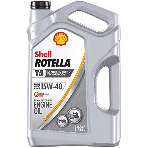 15w40 Motor Oil - Shell Rotella T5 Synthetic Blend 15W-40 Diesel Motor Oil (1-Gallon, Single-Pack)